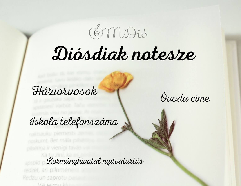 Diósdiak notesze praktikus információk Diósd